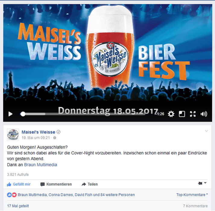 Facebook Post zum Aftermovie für Maisel's Weisse. Erstellt von Braun Multimedia
