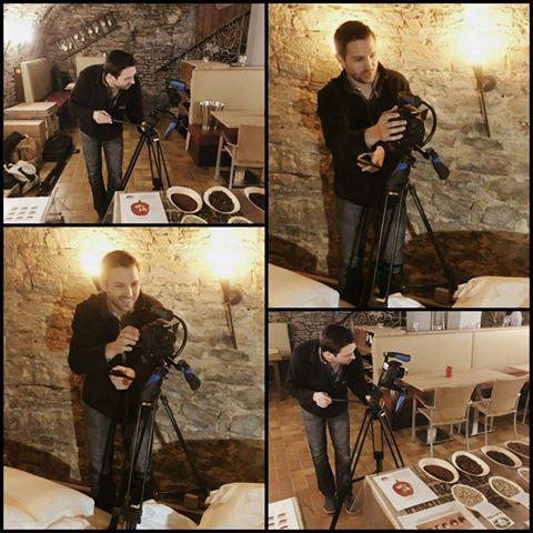 Bilder von den Dreharbeiten zum Imagefilm für die Mee Kaffee GmbH in Volkach